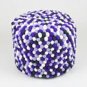 Ręcznie wykonany kulkowy puf Lavender Field, okrągły