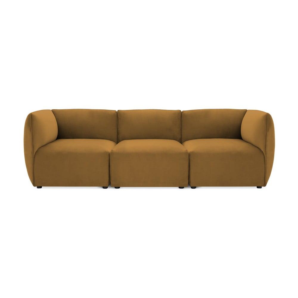 Musztardowa 3-osobowa sofa modułowa Vivonita Velvet Cube