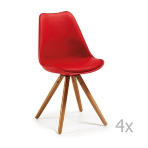 Zestaw 4 czerwonych krzeseł z drewnianymi nogami La Forma Lars