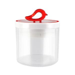 Przezroczysty pojemnik z czerwonym detalem Vialli Design Livio, 0,4 l