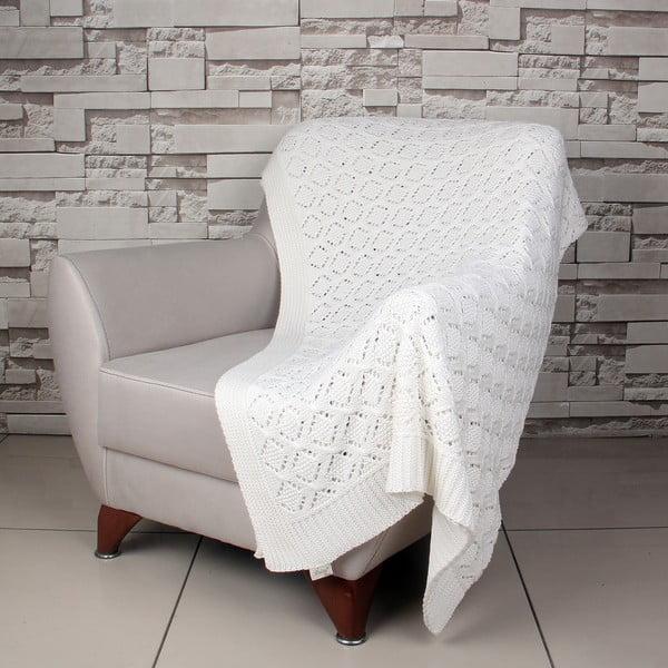 Kremowy   koc bawełniany Ciana