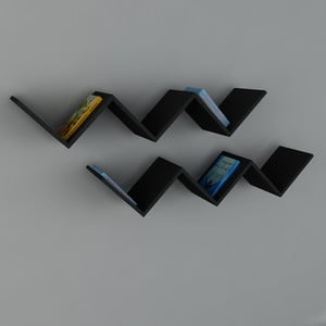 Półka Zig Zag Black, 22x129x50 cm