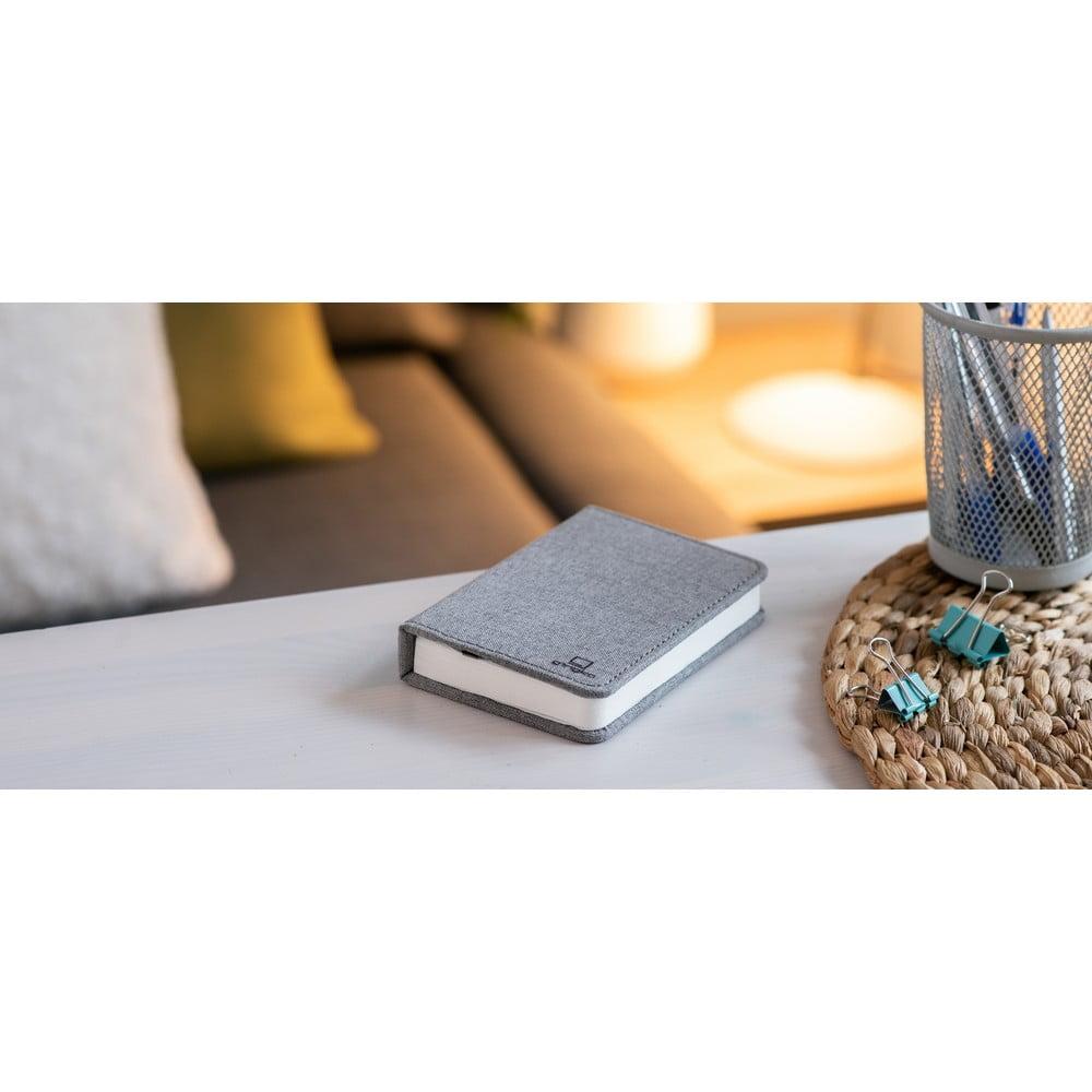 Szara lampka stołowa LED w kształcie książki Gingko Booklight