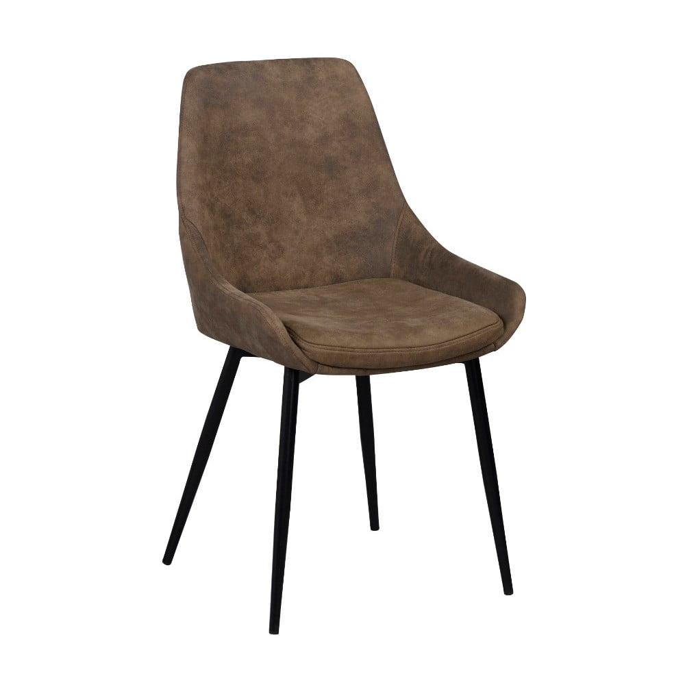 Brązowe tapicerowane krzesło do jadalni Rowico Sierra
