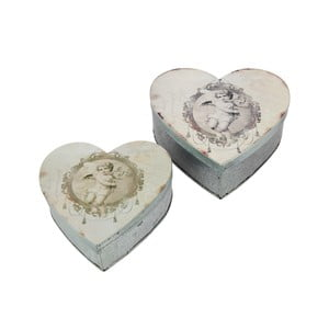 2 metalowe pojemniki Heart Box