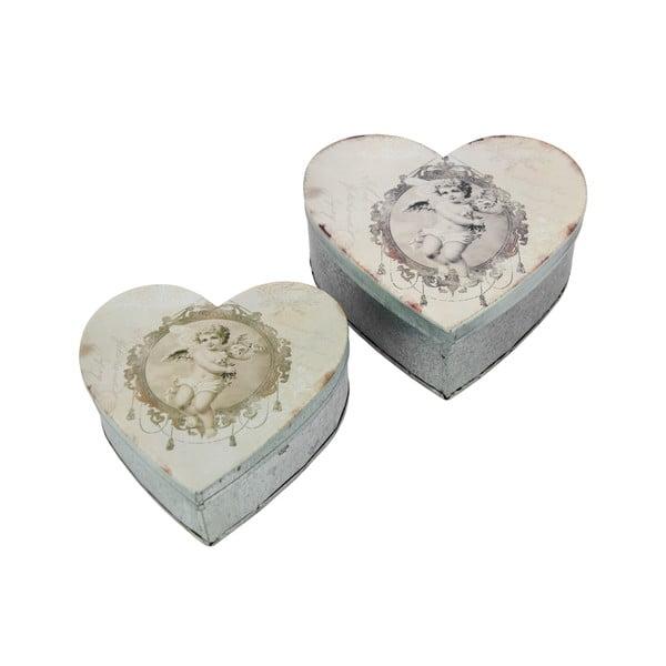 Zestaw 2 metalowych pojemników Antic Line Heart Box