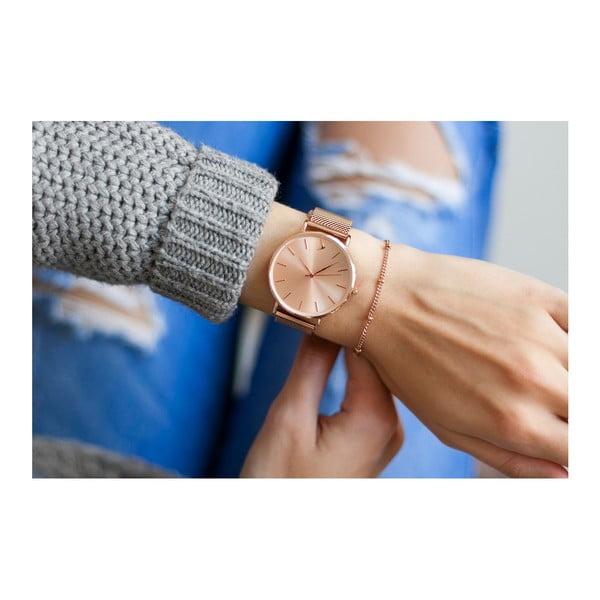 Zegarek damski z bransoletką ze stali nierdzewnej w miedzianym kolorze Emily Westwood Top