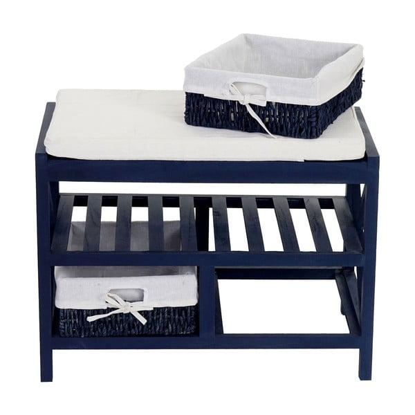 Niebieska ławka z szufladkami Mendler Shabby
