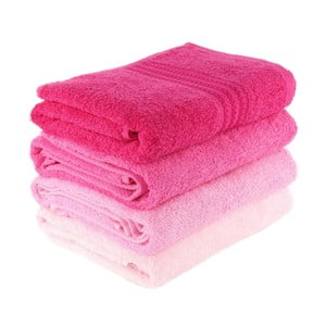 Zestaw 4 różowych ręczników Rainbow Rose, 70x140cm