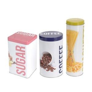 Zestaw 3 metalowych pojemników Sugar, Coffee, Spaghetti