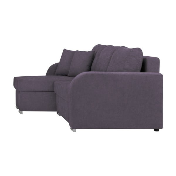 Fioletowa 3-osobowa narożna rozkładana sofa ze schowkiem Melart Louise