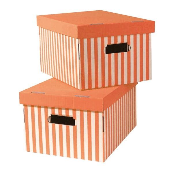Zestaw 2 pudeł Stripes, pomaranczowe