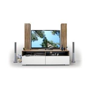Stolik telewizyjny z biblioteczką Deco, biały/samba