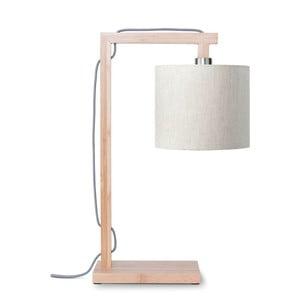 Lampa stołowa z jasnobeżowym kloszem i konstrukcją z bambusa Good&Mojo Himalaya