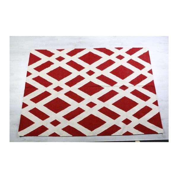 Dywan wełniany Geometry Cross Red & White, 160x230 cm