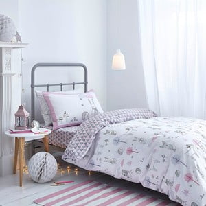Szaro-różowa pościel Bianca Nordic Cotton, 135x200cm