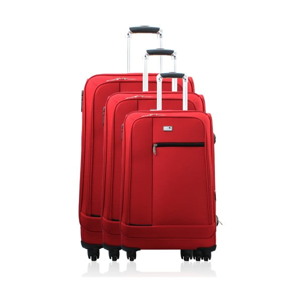Komplet 3 walizek Valises Avec Poly Red