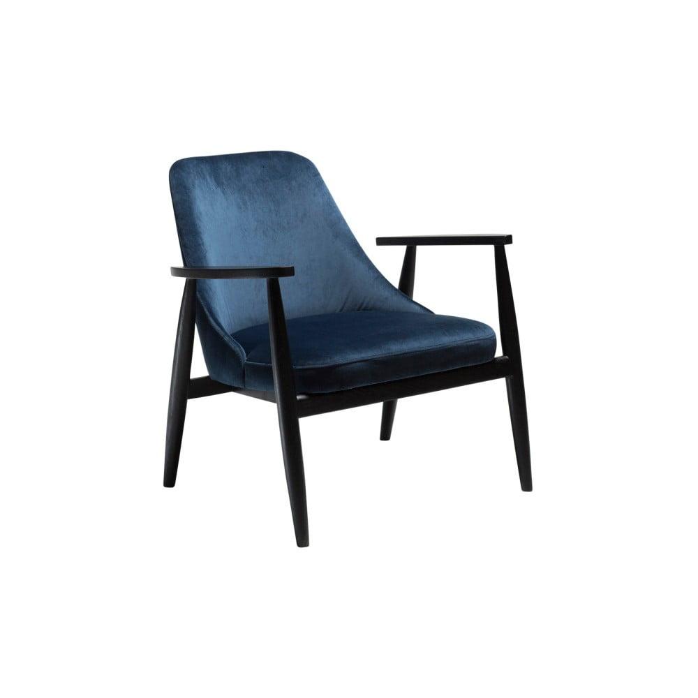 Granatowy fotel z konstrukcją z drewna jesionowego DAN-FORM Denmark Saga