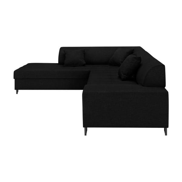 Czarny narożnik z nogami w czarnej barwie Cosmopolitan Design Orlando, lewy róg