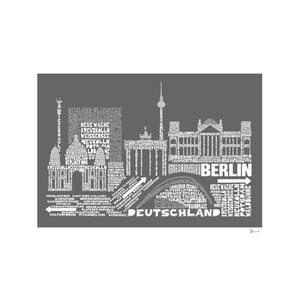Plakat Berlin Grey&White, 50x70 cm