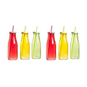 6 butelek z wieczkiem i słomką Milky