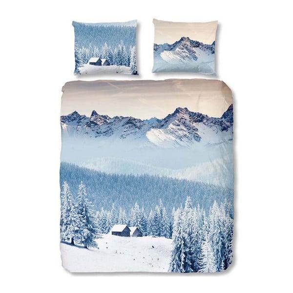 Niebieska pościel dwuosobowa Good Morning Mountains, 200x200 cm