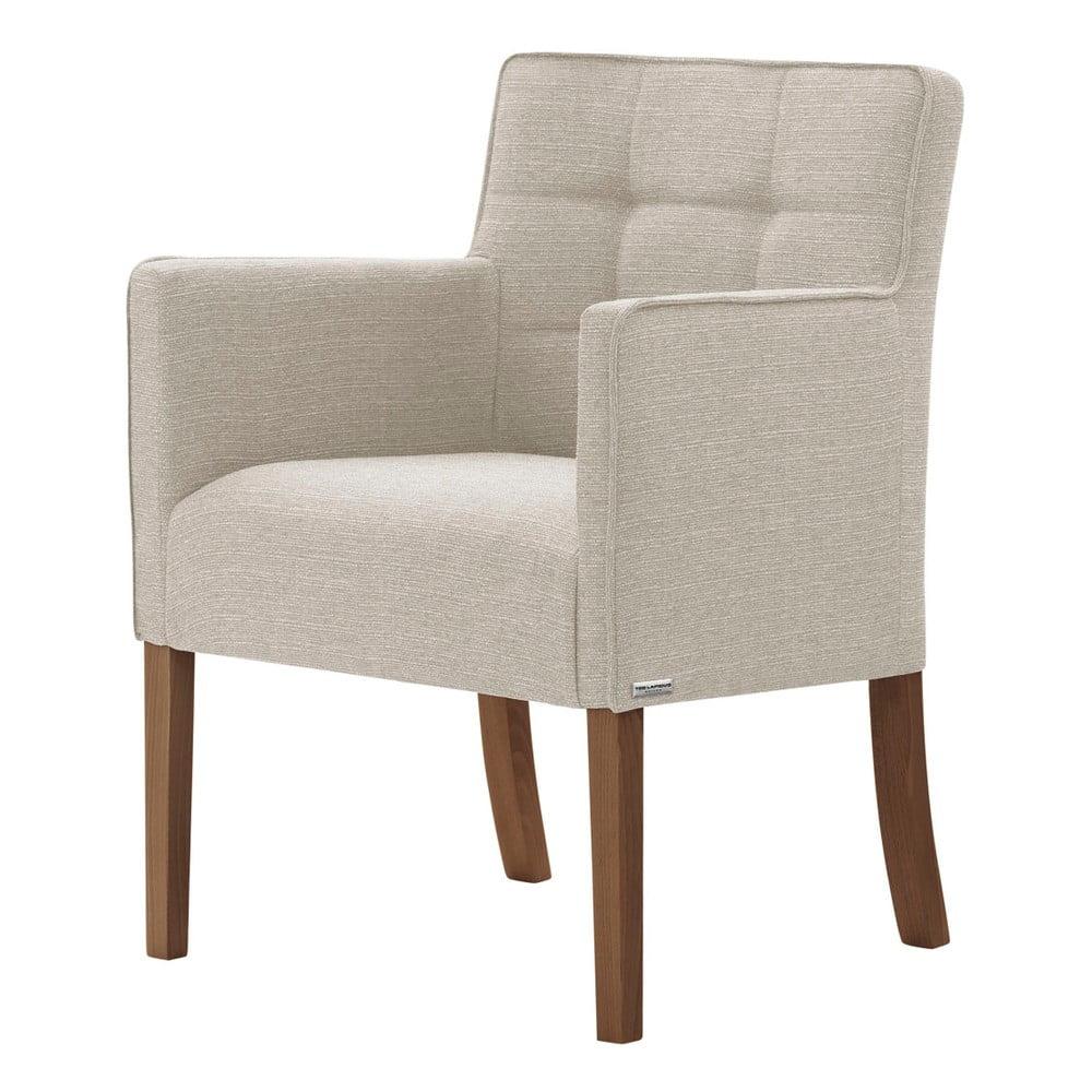 Kremowobiałe krzesło z ciemnobrązowymi nogami Ted Lapidus Maison Freesia