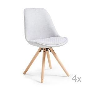 Zestaw 4 jasnoszarych krzeseł La Forma Lars