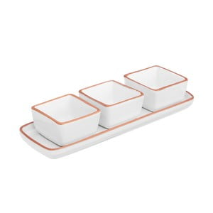 Komplet 3 misek i tacki z glazurowanej terakoty Premier Housewares Calisto
