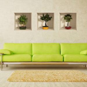 Zestaw 3 naklejek ściennych 3D Ambiance Bonsai Trees