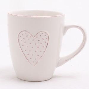 Biały kubek ceramiczny Dakls Heart, 300 ml