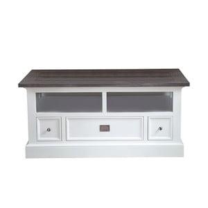 Biały stolik pod telewizor Canett Skagen TV, 3 szuflady