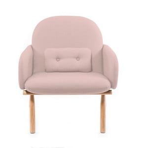 Różowy fotel z nogami z drewna dębowego Harto Georges