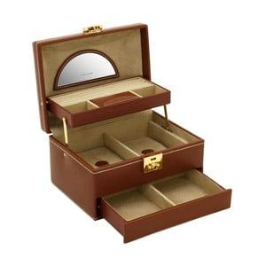 Brązowa szkatułka na biżuterię Friedrich Lederwaren Cordoba, 22x16 cm