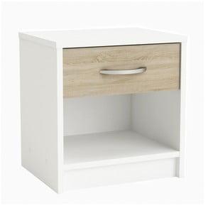 Biały stolik nocny z szufladą z dekorem jasnego dębu Iris