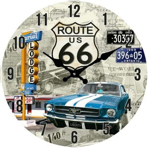 Szklany zegar Route66, 38 cm