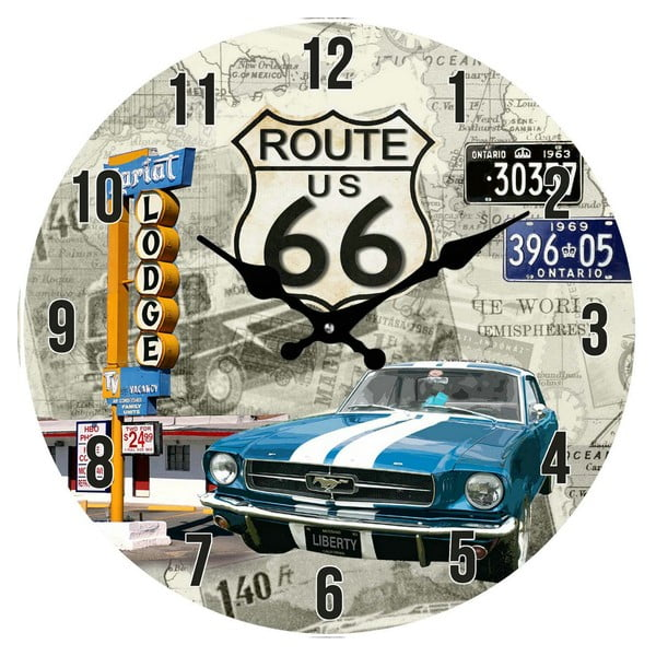 Szklany zegar Route 66, 38 cm