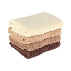 Zestaw 4 brązowych ręczników Rainbow Home, 50x90 cm