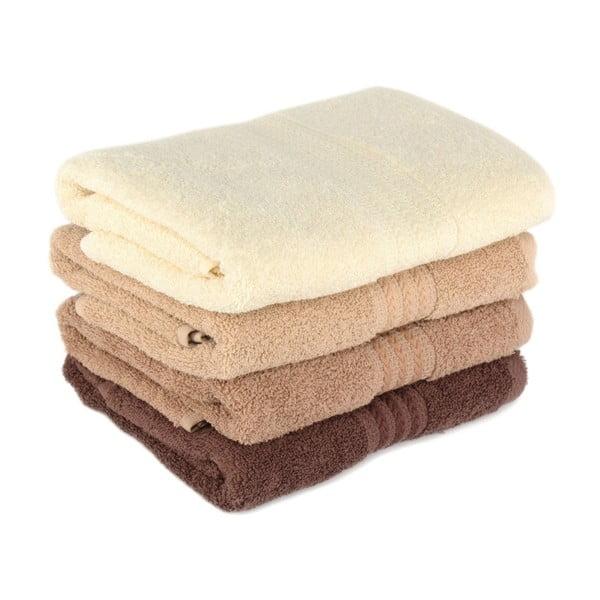 Zestaw 4 brązowych ręczników Rainbow Home, 50x90cm