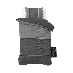 Antracytowa pościel z mikroperkalu Sleeptime Luxury Barock, 140x220 cm