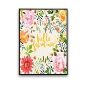 Plakat z kwiatami Hello Summer, białe tło, 30 x 40 cm