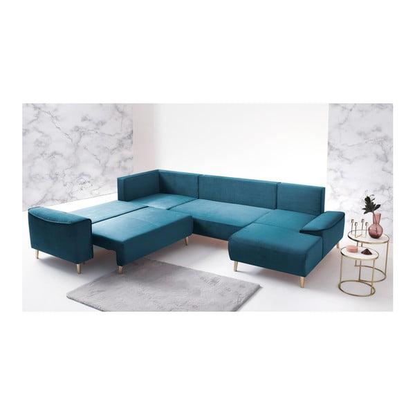 Niebieski narożnik rozkładany Bobochic Paris Panoramique XXL Hera, prawostronny