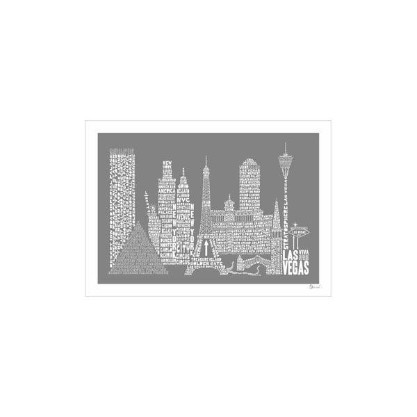 Plakat Las Vegas Grey&White, 50x70 cm