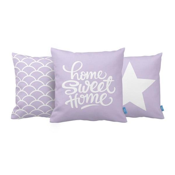Zestaw 3 poduszek Home Sweet Home, 43x43 cm, fialová