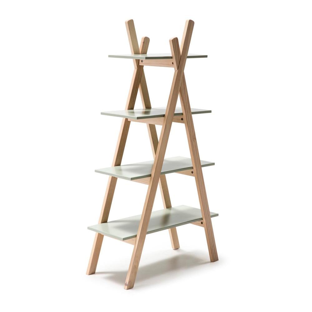 Regał dziecięcy z zielonymi półkami i konstrukcją z drewna sosnowego Marckeric Elisa
