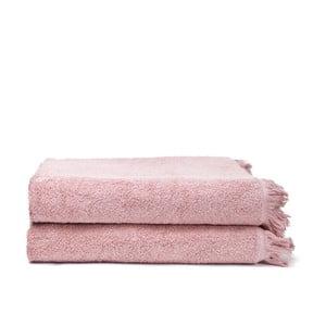 Komplet 2 różowych bawełnianych ręczników kąpielowych z bawełny Casa Di Bassi Bath, 100x160 cm