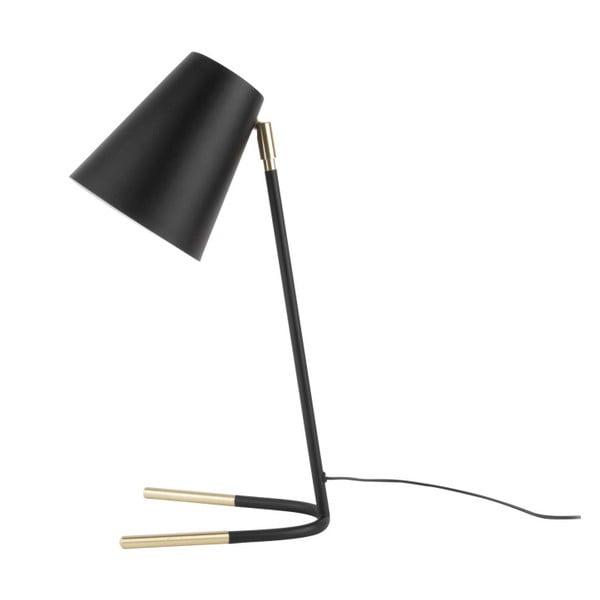 Czarna lampa stołowa z detalami w złotym kolorze Leitmotiv Noble