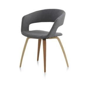 Drewniane krzesło z szarym siedziskiem Geese