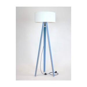 Niebieska lampa stojąca z białym abażurem i czarno-białym kablem Ragaba Wanda