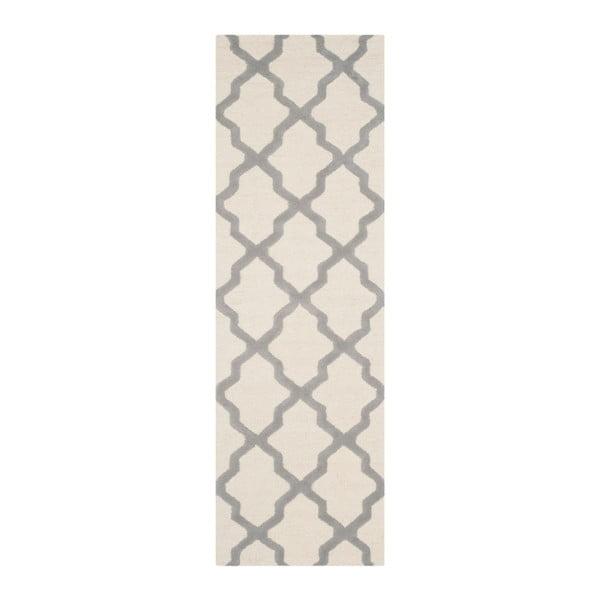 Dywan wełniany Ava White Grey, 76x182 cm